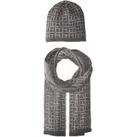 Комплект шапка и шарф Tommy Hilfiger Knit Allover Logo Hat and Scarf Set Charcoal