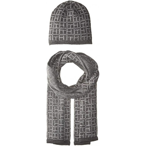 Tommy Hilfiger Knit Allover Logo Hat and Scarf шапка и шарф женские