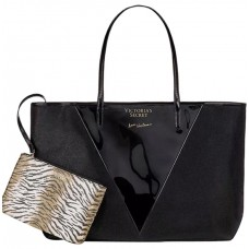 Сумка пляжная Victoria's Secret Attached Small Animal Print Zip Black Canvas Tote