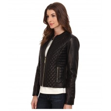 Куртка Cole Haan Black Quilted Leather Jacket
