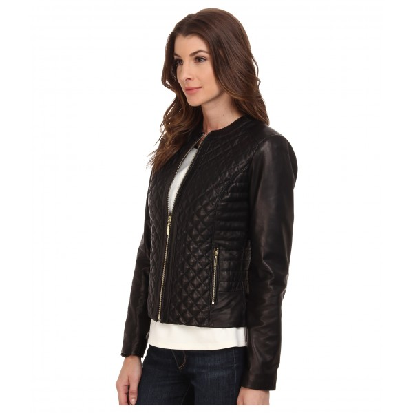 Cole Haan Black Quilted Leather Jacket куртка женская
