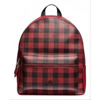 Рюкзак Coach F38949 BACKPACK with Gingham Print in Ruby Multi