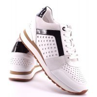Кроссовки кожаные MICHAEL KORS BILLIE TRAINER SNEAKERS Leather White