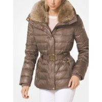 Куртка пуховик Michael Kors Quilted Down and Faux Fur Puffer Jacket Taupe