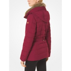Куртка пуховик Michael Kors Quilted Down and Faux Fur Puffer Jacket Red